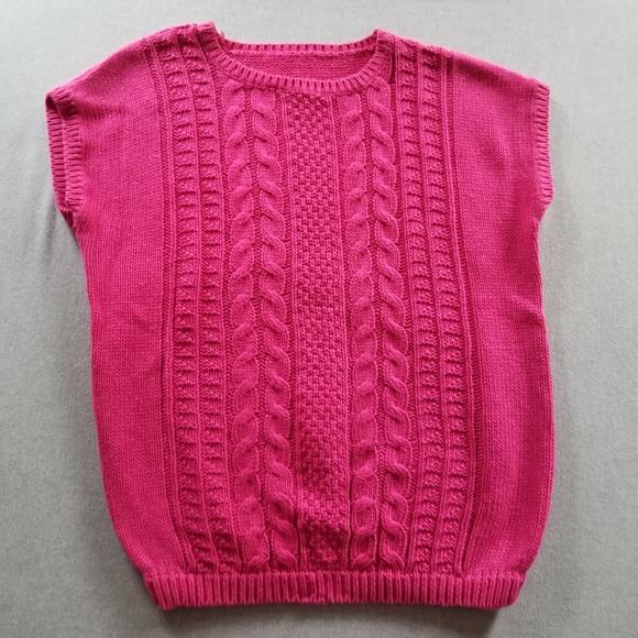 VTG bright fuchsia cable knit top